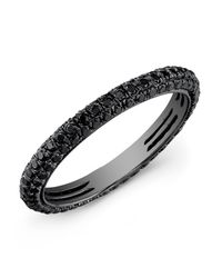 Anne Sisteron - 14kt Oxidized White Gold Black Diamond Ring - Lyst