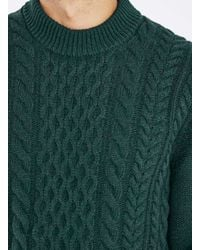 TOPMAN - Green Cable Knit Sweater for Men - Lyst