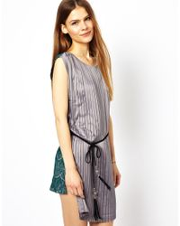 Traffic People - Gray Two Face Lace Dress - Lyst