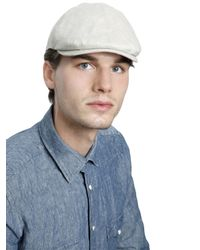 Lardini - Natural Linen Denim Flat Cap for Men - Lyst