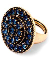 Oscar de la Renta - Blue Gold-plated Disk Ring - Lyst