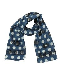 Alexander McQueen - Blue Wool Skull And Polka Dot Print Scarf for Men - Lyst