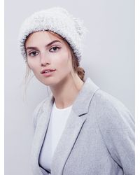 Free People - White Womens Marled Boucle Pom Beanie - Lyst