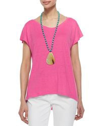 Eileen Fisher - Pink Linen Jersey Cap-sleeve Top - Lyst