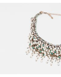 Zara | Multicolor Stone And Metallic Mesh Necklace | Lyst