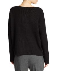Lord & Taylor | Black Wool Blend Waffle Knit Sweater | Lyst