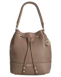 DKNY | Brown Tribeca Soft Tumbled Leather Drawstring Bucket | Lyst