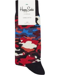 Happy Socks | Red Camouflage Cotton Socks - For Men for Men | Lyst