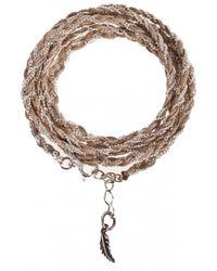 Only Noa Chez Carré Y. | Metallic Golden Beige Braided Bracelet | Lyst