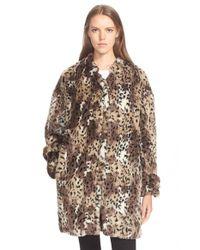 Rebecca Taylor | Brown Cheetah Patterned Faux Fur Coat | Lyst