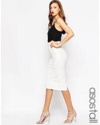 ASOS - White Midi Pencil Skirt In Heavy Rib - Lyst