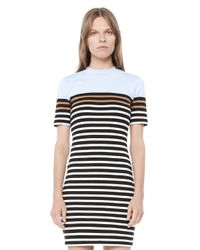 Alexander Wang - Blue Engineered Stripe Short Sleeve Dress - Lyst