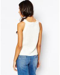 Daisy Street | Natural Halter Neck Knit Rib Top | Lyst