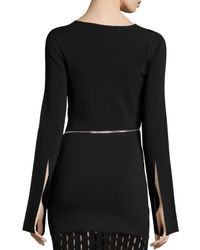 Alexander Wang - Black Fitted Zip-detail Top - Lyst