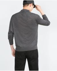 Zara | Gray Knit Polo Shirt for Men | Lyst