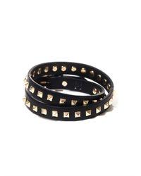 Valentino | Black Studded Leather Wraparound Bracelet for Men | Lyst