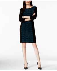 Nine West | Black Printed Panel Sweater Dress | Lyst