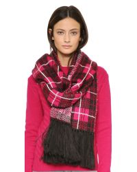 kate spade new york | Pink Woodland Plaid Scarf | Lyst