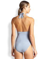Lazul - Blue One-Piece Crisscross Plunging Swimsuit - Lyst