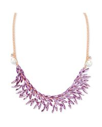 Steve Madden - Metallic Rose Goldtone Faceted Purple Crystal Frontal Necklace - Lyst