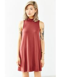 Silence + Noise - Red Mock-neck Mini Swing Dress - Lyst