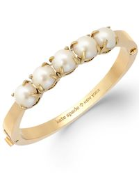 Kate Spade | White Gold-Tone Glass Pearl Hinge Bangle Bracelet | Lyst