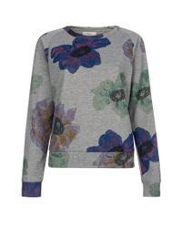 Paul Smith | Gray Women's Grey Loopback Cotton Sweatshirt With 'anemone Floral' Print | Lyst