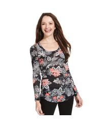 Karen Kane | Multicolor Long-Sleeve Floral-Print Top | Lyst