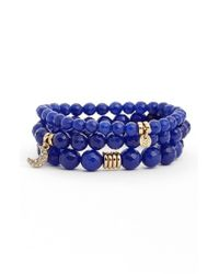 Sequin - Blue 'color Karma' Bead Stretch Bracelet - Lyst