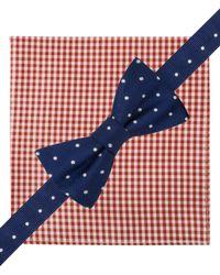Tommy Hilfiger - Blue Dot Pre-Tied Bow Tie & Gingham Pocket Square Set for Men - Lyst