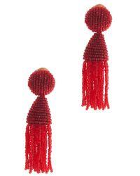 Oscar de la Renta - Red Short Tassel Earring - Lyst