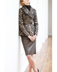 Martin Grant | Brown Leather Pencil Skirt | Lyst