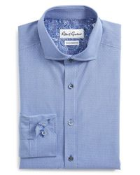 Robert Graham | Black 'rapallo' Tailored Fit Dot Dress Shirt for Men | Lyst