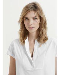 Violeta by Mango | White Cotton-blend Panel T-shirt | Lyst