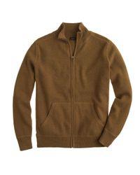 J.Crew - Green Cotton-cashmere Zip Sweater-jacket for Men - Lyst