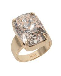 Nadia Minkoff | Metallic Gold Patina Oblong Stone Ring | Lyst