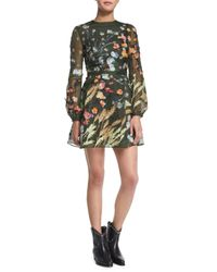 Valentino - Green Floral Silk Organza Long-sleeve Dress - Lyst