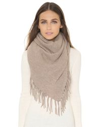 White + Warren | Brown Cashmere Two Way Fringe Poncho - Charcoal Heather | Lyst
