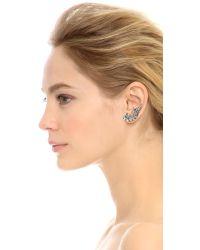 Ben-Amun - Metallic Asymmetrical Crystal Earrings - Silver/Clear - Lyst