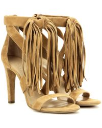 Chloé - Brown Fringed Suede Sandals - Lyst