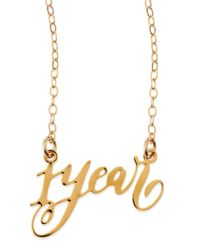 Brevity | Metallic 1-year Anniversary Calligraphy Necklace | Lyst