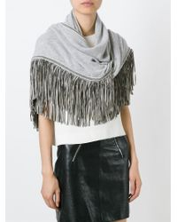 Antonia Zander | Gray Fringed Shawl | Lyst