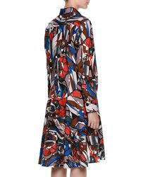 Marni - Multicolor Long-sleeve Floral-print Belted Shirtdress - Lyst