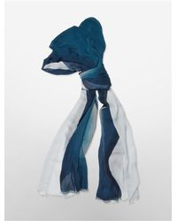 Calvin Klein | Blue White Label Clay Ombre Overlay Scarf | Lyst