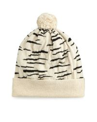 Rosie Sugden | White Cashmere Tiger-stripe Beanie Hat | Lyst