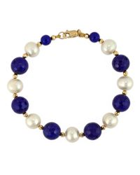Effy - Blue White Pearl, Lapis And 14k Yellow Gold Bracelet - Lyst