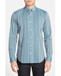 7 For All Mankind - Blue Trim Fit Stripe Sport Shirt for Men - Lyst