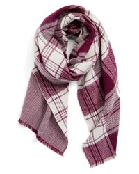 Halogen | 'talent' Plaid Reversible Scarf - Purple | Lyst