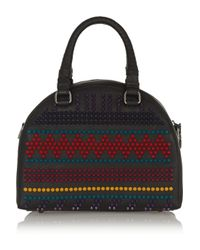 Christian Louboutin | Black Panettone Small Spiked Textured-Leather Tote | Lyst