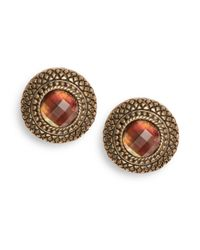 Stephen Dweck - Brown Quilted Mother-of-pearl Doublet Button Earrings - Lyst